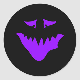 Purple Scary Face. Monster. Round Sticker