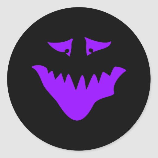 Purple Scary Face. Monster. Stickers