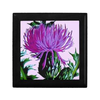 Purple Scottish Garden Thistle Small Square Gift Box