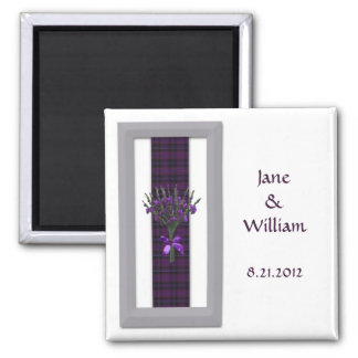 Purple Scottish Tartan & Heather Wedding Favour Magnet