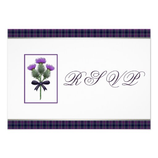 Purple Scottish Tartan Plaid and Thistle RSVP Personalized Invitation