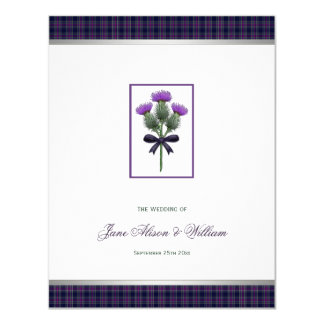 Purple Scottish Tartan Plaid and Thistle Wedding 11 Cm X 14 Cm Invitation Card