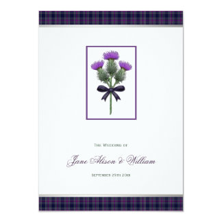 Purple Scottish Tartan Plaid and Thistle Wedding 11 Cm X 16 Cm Invitation Card