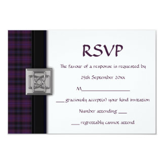 Purple Scottish Tartan Plaid RSVP Response Card