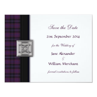 Purple Scottish Tartan Save the Date Announcement