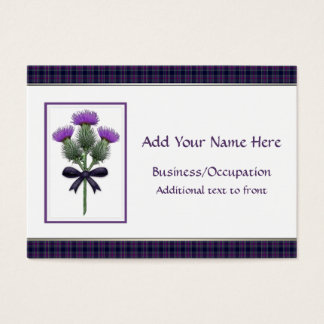 Purple Scottish Thistles & Tartan Business Cards