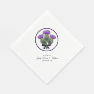 Purple Scottish Thistles Wedding Reception Disposable Napkin