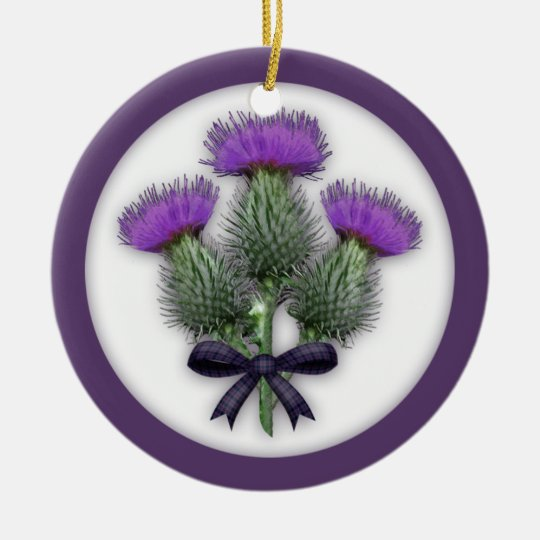 Purple Scottish Thistles with Tartan Plaid Bow Christmas