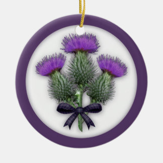 Purple Scottish Thistles with Tartan Plaid Bow Christmas Ornament