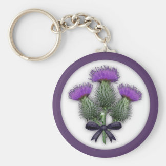 Purple Scottish Thistles with Tartan Plaid Bow Key Ring