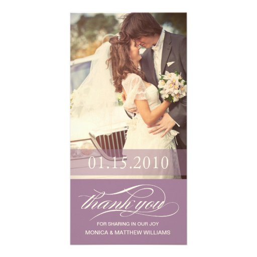 PURPLE SCRIPT THANKS | WEDDING THANK YOU CARD PHOTO GREETING CARD