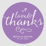 Purple Script Wedding Favour Thank You Sticker