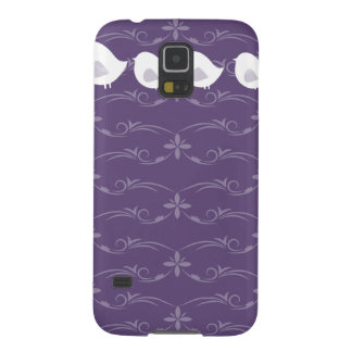 Purple Scroll background with Bird family Galaxy S5 Case