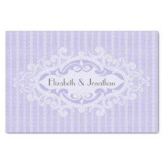 """Purple Scrolls and Ribbons Wedding 10"""" X 15"""" Tissue Paper"""