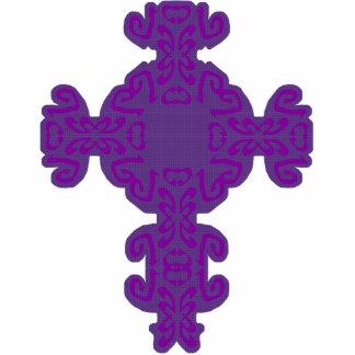 Purple Scrolls Cross Cutout Standing Photo Sculpture