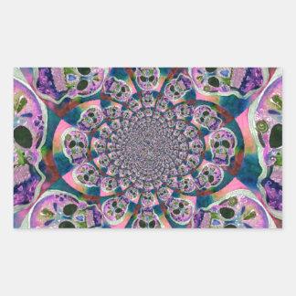Purple Scull Swirl Design Rectangular Sticker