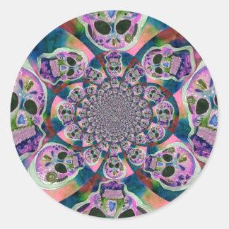 Purple Scull Swirl Design Round Sticker