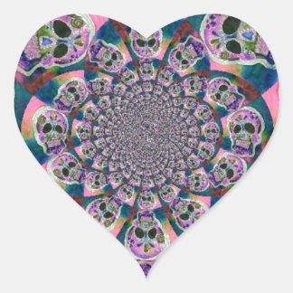 Purple Scull Swirl Design Heart Sticker