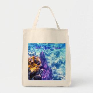 Purple Sea Fan Personalized Tote Grocery Tote Bag
