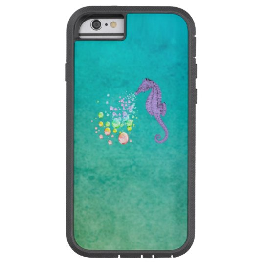 Purple Seahorse Blowing Rainbow Bubbles Tough Xtreme iPhone