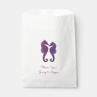 Purple Seahorse Wedding Thank You Favor Favour Bags