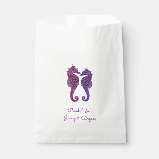 Purple Seahorse Wedding Thank You Favour
