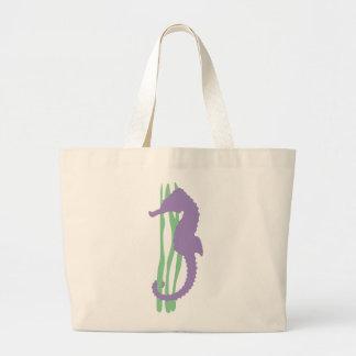 Purple Seahorse with Sea Grass Tote Bag