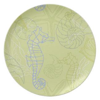 Purple Seahorses and Seashells Motif Plate