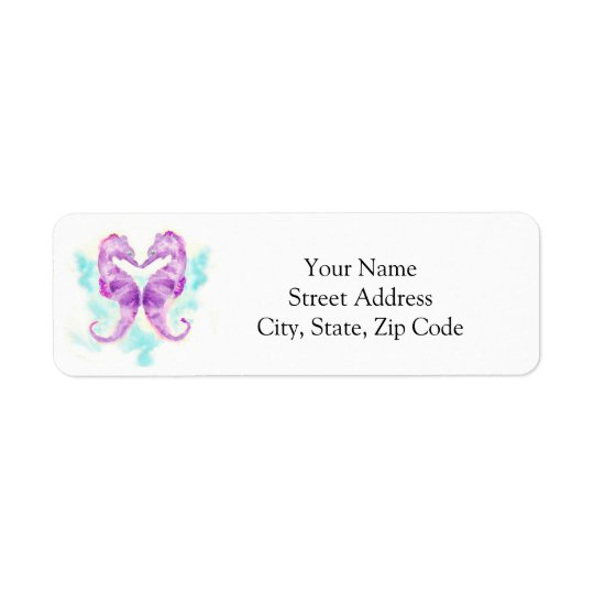Purple Seahorses Postage Stamps Return Address Label