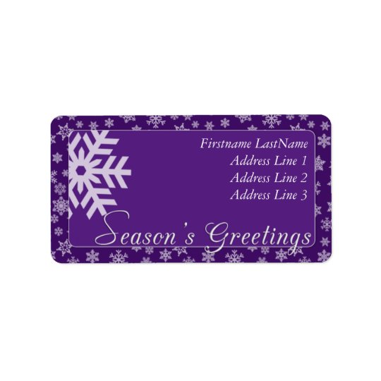 Purple Season's Greetings Address Label