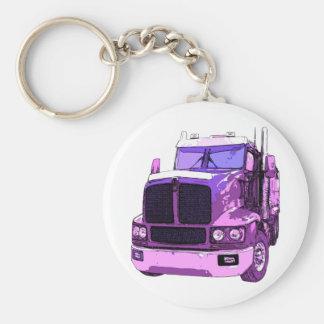 Purple Semi Truck Basic Round Button Key Ring