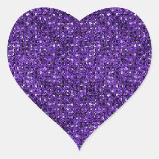 Purple Sequin Effect Heart Sticker Sheets