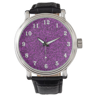 Purple Sequin Look White Numbers Wrist Watches