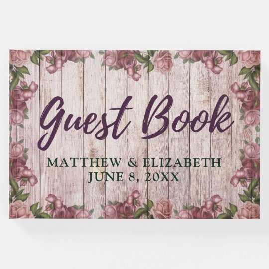 Purple Shabby Chic Floral Rustic Wood Wedding Guest