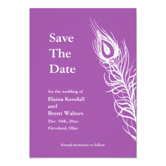 Purple Shake your Tail Feathers Save the Date 13 Cm X 18 Cm Invitation Card