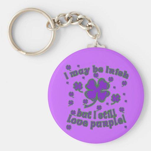 Purple Shamrock St. Patrick's Day Design Basic Round Button Key Ring