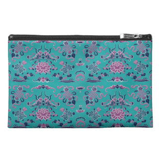 Purple Shapes and Flowers on Teal Travel Accessories Bag