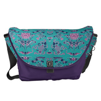 Purple Shapes and Flowers on Teal Commuter Bag