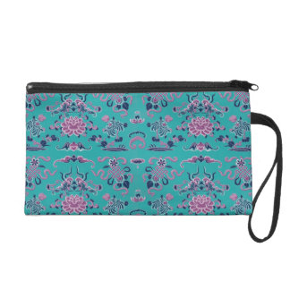 Purple Shapes and Flowers on Teal Wristlet Purses
