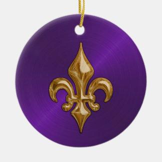 Purple Sheen and Gold Fleur de Lis Christmas Ornament