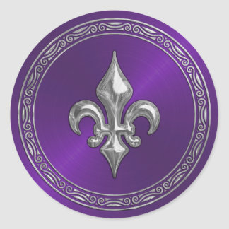 Purple Sheen and Silver Fleur de Lis Envelope Seal