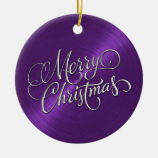 Purple Sheen and Silver Merry Christmas Christmas Ornament