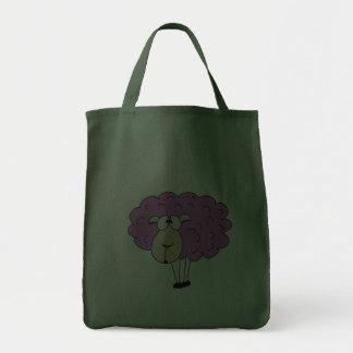 Purple sheep grocery tote bag