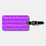 Purple Sheet Music Luggage Tag
