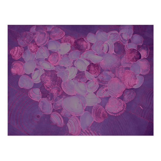 Purple shell heart postcard