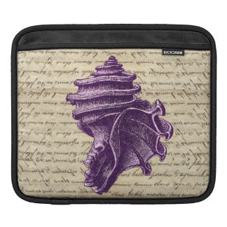 Purple shell on vintage letter  background iPad sleeve