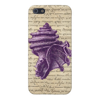 Purple shell on vintage letter background iPhone 5/5S cover