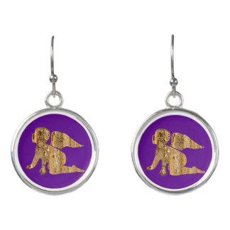 Purple Shiny Gold Angel Baby Cute Christmas Earrings
