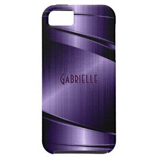 Purple Shiny Metallic Brushed Aluminum Look iPhone 5 Cases