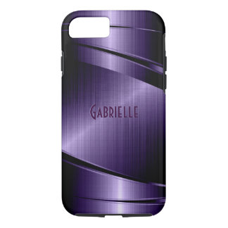 Purple Shiny Metallic Brushed Aluminum Look iPhone 7 Case